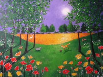 Moonlight on the wild poppies