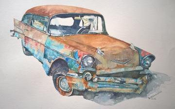 Watercolour painting '1957 Chevy'