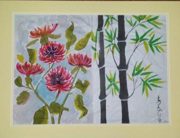 Bamboo & Chrysanthemums
