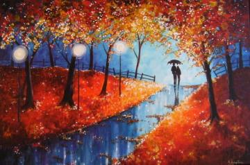 Autumn Evening Rain fine art Giclee print