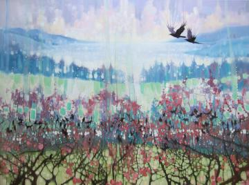 Going Elsewhere - a winter landscape with crows
