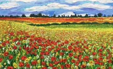 Poppy field ( Finger Painting)