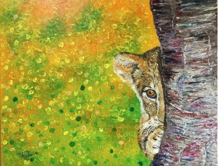 Timid Lioncub ( Finger Painting)