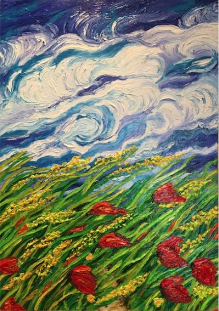 Windy Meadow ( Finger Painting)
