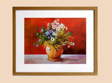 Flowers on red background