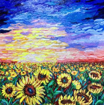 SUNFLOWERS SUNSET (Finger painting)
