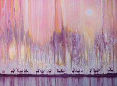 Watchers in the Ice Forest - misty landscape with deer