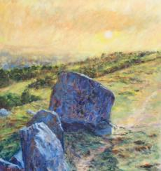 Calf rock at sunrise, Ilkley Moor