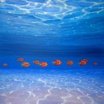 Ten Orange fish under the sea