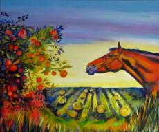 Horse, Apple tree & Hayfield