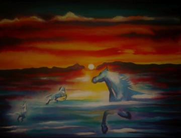 Swimming Horses at Sunset