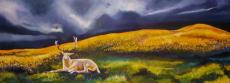 White Stag and Stormclouds with Buttercups