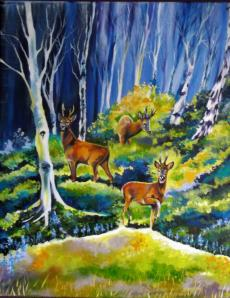 Deer and Birch trees