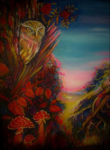 Owl in Treestump