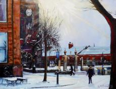 Snowy Morning, Market Place, Macclesfield