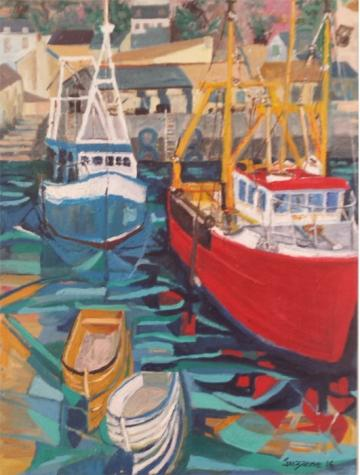Trawlers at Polperro harbour