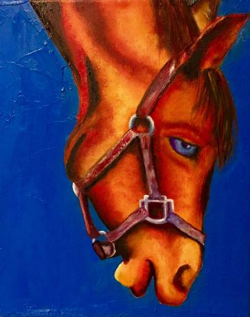 Horse In Orange And Blue