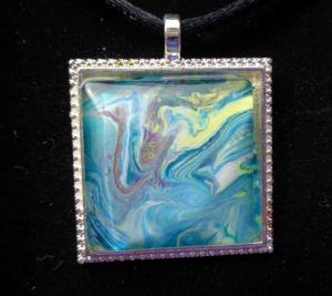 Blue Recycled Paint Necklace