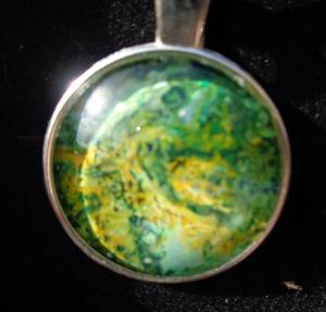 Green Recycled paint Necklace