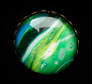 Green Mix recycled paint Brooch
