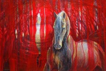 Horse Metamorphosis - a large contemporary red oil painting of beautif