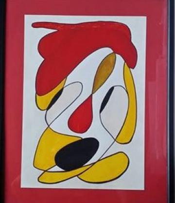 UPSIDE DOWN CLOWN -FRAMED ORIGINAL WATERCOLOUR (POEM INCLUDED)