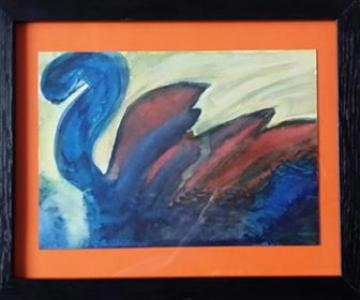 NESSIE FRAMED ORIGINAL WATERCOLOUR (POEM INCLUDED)