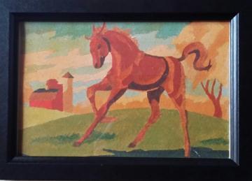 Frolicking Horse (Framed print of my grandad's Original Painting)