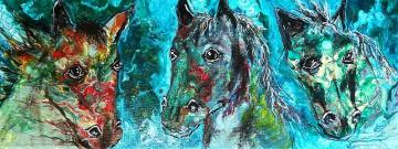 horse trio, A3, Acrylic pouring art,  wedding gift, birthday present,