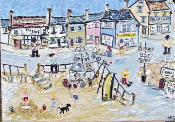 THE MOUSEHOLE CAT---A LARGE SIZE CANVAS 76X51