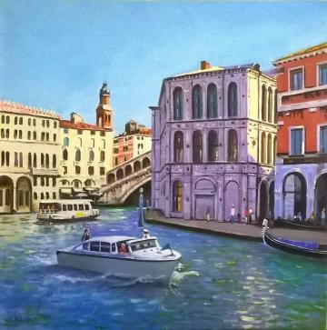 By the Rialto Grand Canal Venice