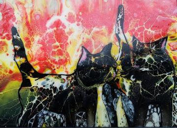 A54,  abstract art, art on canvas, jeannie zelos, acrylics, swipe pain