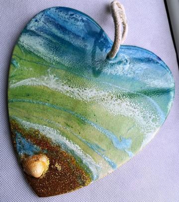 Original art, Abstract art, seascape, beach scene, Unique art, resin a