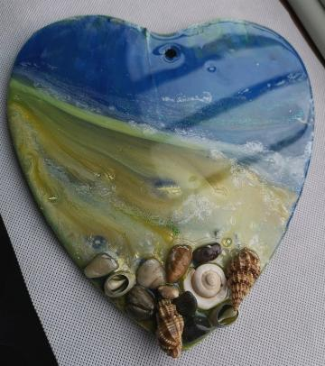 Original art, Abstract art, seascape, beach scene,  Unique art, resin