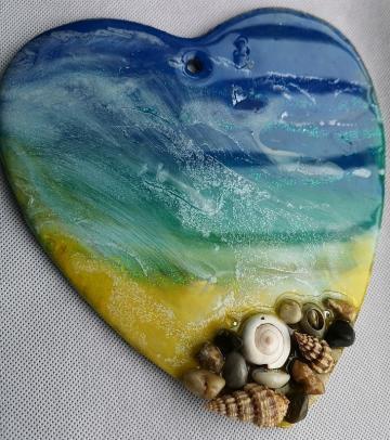 Original art, Abstract art, seascape, beach scene,  Unique art, resin