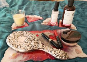 Valentine gift, Coasters, geode, dresser set, table protectors, hand m