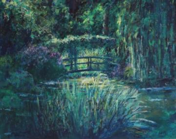 Wisteria bridge at Monet's pond. Before sunset     (2019)