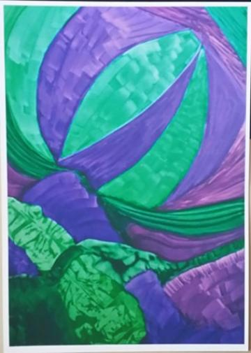 GREEN AND PURPLE PAINTING – A4 UNFRAMED PRINT OF MY ORIGINAL PAINTIN