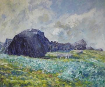 The Cow and Calf Rocks, afternoon effect
