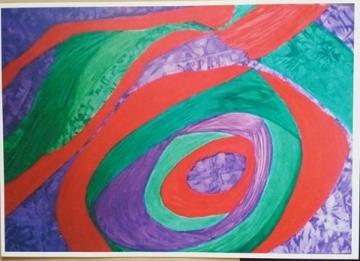 GREEN, RED AND PURPLE PAINTING. A4 UNFRAMED PRINT + POEM. ORIGINAL ART
