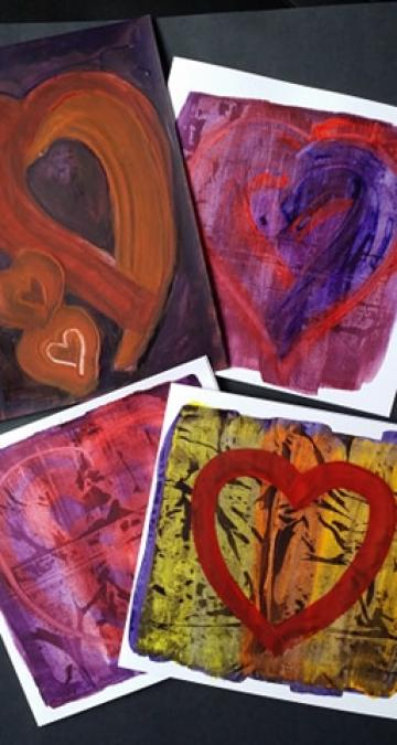 SET OF 4 HAND PAINTED HEART CARDS